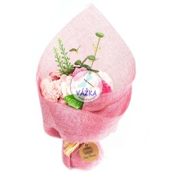 Stojaca mydlová kytica - ružová