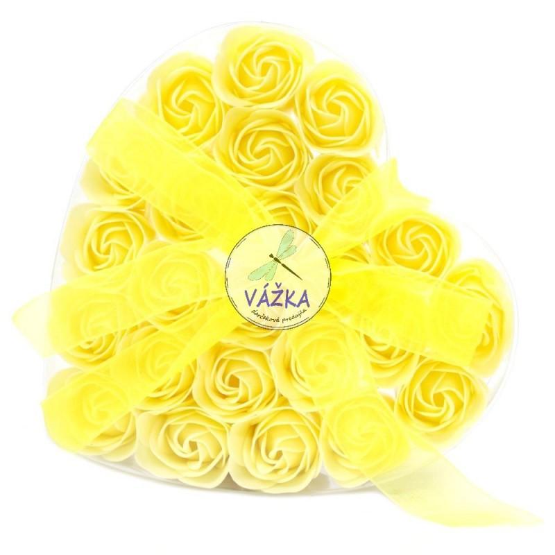 Sada 24 mydlových kvetov - Žltá ruža