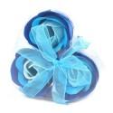 Sada 3 mydlových kvetov - Svadobná modrá