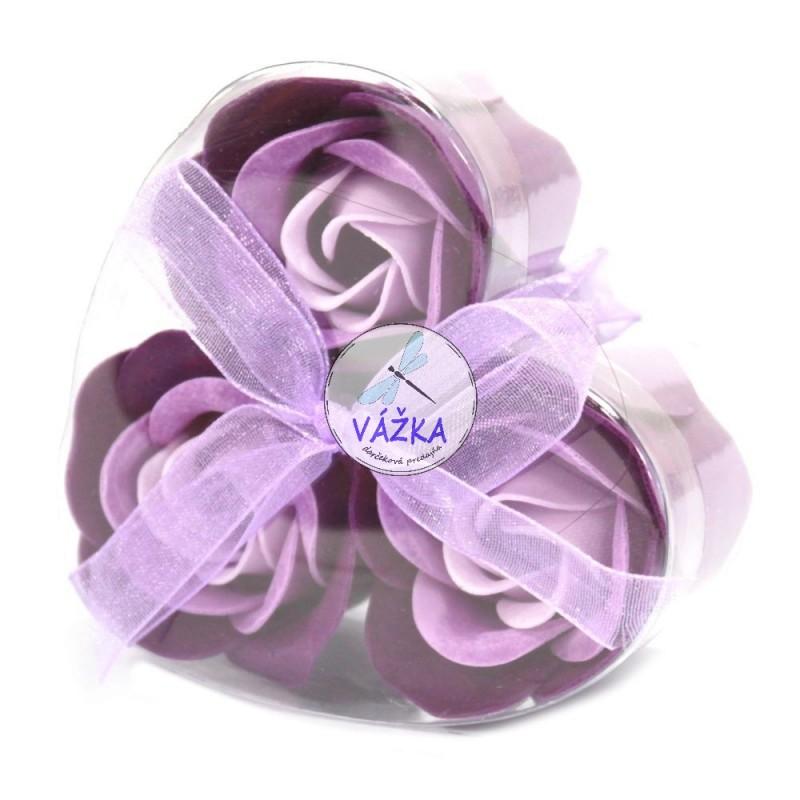 Sada 3 mydlových kvetov - levand. Ruža