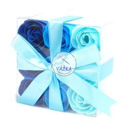 Sada 9 mydlových kvetov - svadobné modré