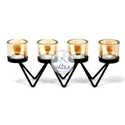 Kovový svietnik na 4 sviečky - cik cak